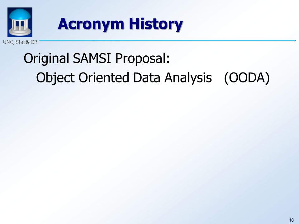 16 UNC, Stat & OR Acronym History Original SAMSI Proposal: Object Oriented Data Analysis (OODA)