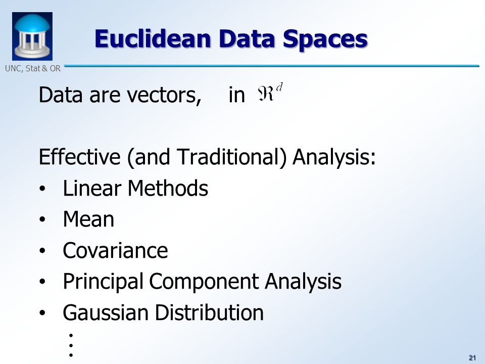 21 UNC, Stat & OR Euclidean Data Spaces Data are vectors, in Effective (and Traditional) Analysis: Linear Methods Mean Covariance Principal Component