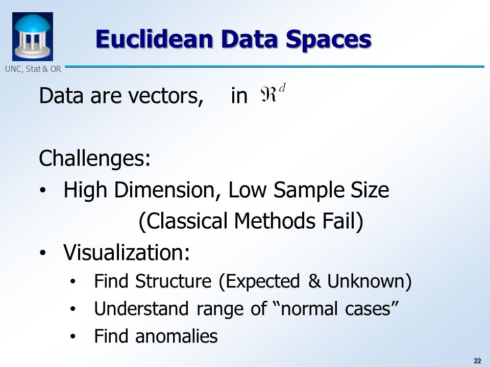 22 UNC, Stat & OR Euclidean Data Spaces Data are vectors, in Challenges: High Dimension, Low Sample Size (Classical Methods Fail) Visualization: Find