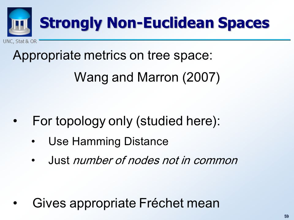 59 UNC, Stat & OR Strongly Non-Euclidean Spaces Appropriate metrics on tree space: Wang and Marron (2007) For topology only (studied here): Use Hammin