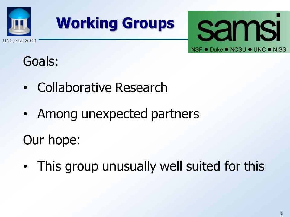6 UNC, Stat & OR Working Groups Goals: Collaborative Research Among unexpected partners Our hope: This group unusually well suited for this