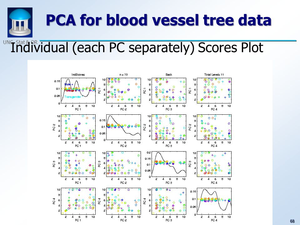 68 UNC, Stat & OR PCA for blood vessel tree data Individual (each PC separately) Scores Plot