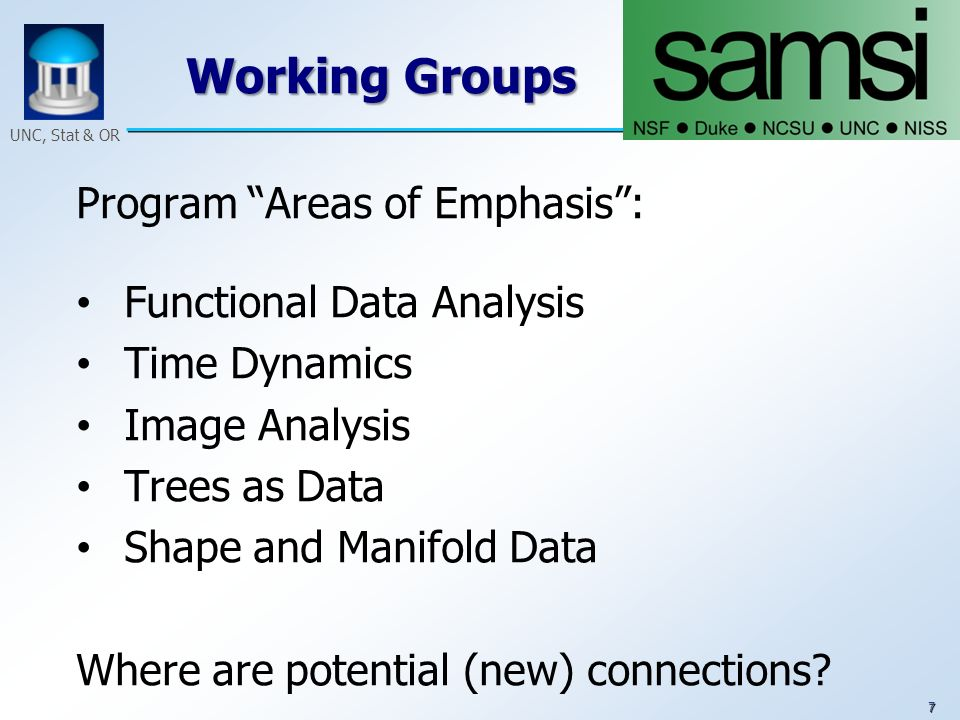 7 UNC, Stat & OR Working Groups Program Areas of Emphasis: Functional Data Analysis Time Dynamics Image Analysis Trees as Data Shape and Manifold Data