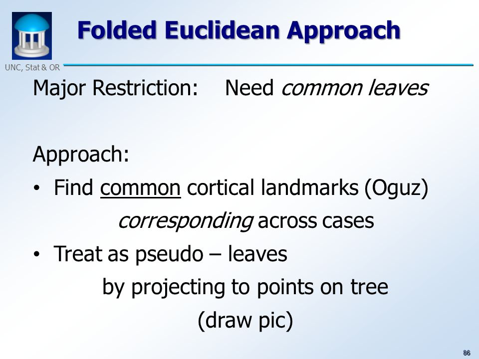 86 UNC, Stat & OR Folded Euclidean Approach Major Restriction: Need common leaves Approach: Find common cortical landmarks (Oguz) corresponding across