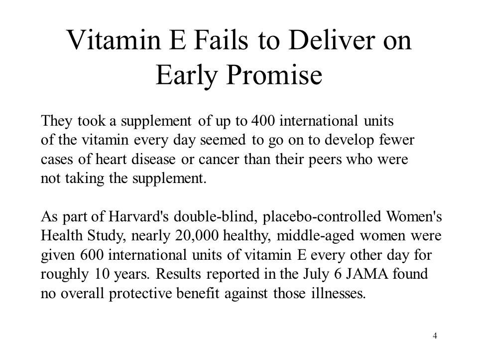 4 Vitamin E Fails to Deliver on Early Promise They took a supplement of up to 400 international units of the vitamin every day seemed to go on to develop fewer cases of heart disease or cancer than their peers who were not taking the supplement.