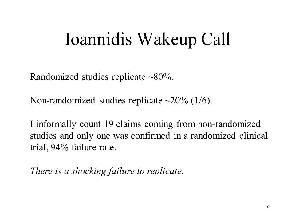 6 Ioannidis Wakeup Call Randomized studies replicate ~80%.