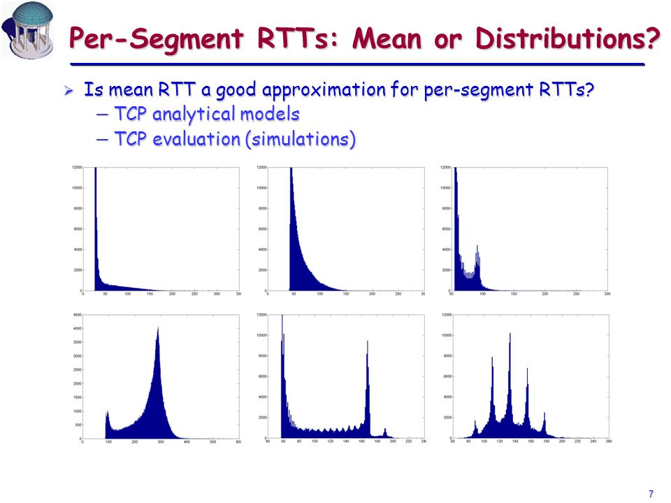 7 Per-Segment RTTs: Mean or Distributions. Is mean RTT a good approximation for per-segment RTTs.