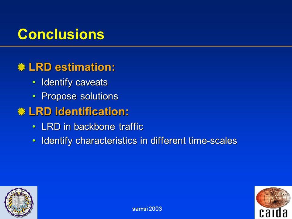 samsi 2003 Conclusions LRD estimation: Identify caveatsIdentify caveats Propose solutionsPropose solutions LRD identification: LRD in backbone traffic