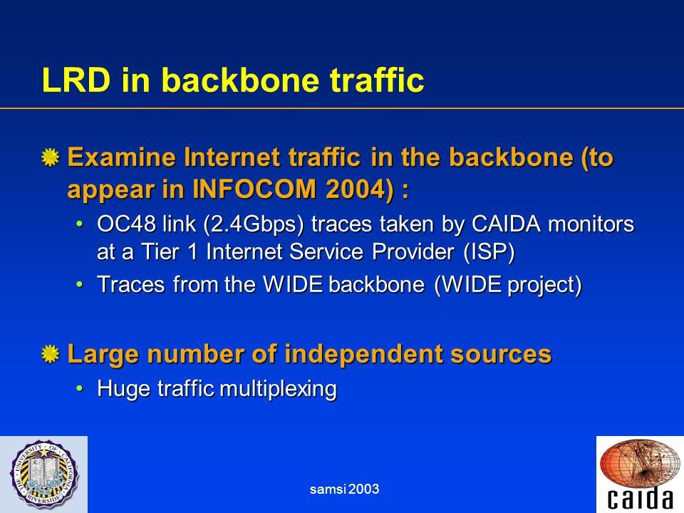 samsi 2003 LRD in backbone traffic Examine Internet traffic in the backbone (to appear in INFOCOM 2004) : OC48 link (2.4Gbps) traces taken by CAIDA mo