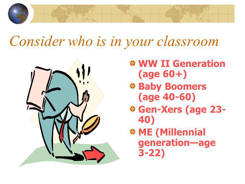 Consider who is in your classroom WW II Generation (age 60+) Baby Boomers (age 40-60) Gen-Xers (age 23- 40) ME (Millennial generationage 3-22)