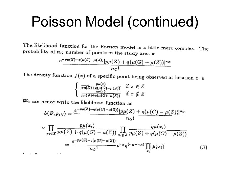 Poisson Model (continued)