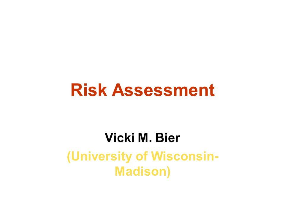 Risk Assessment Vicki M. Bier (University of Wisconsin- Madison)