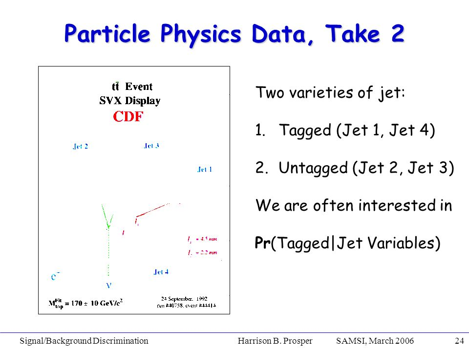 Signal/Background Discrimination Harrison B. Prosper SAMSI, March 200624 Particle Physics Data, Take 2 Two varieties of jet: 1.Tagged (Jet 1, Jet 4) 2