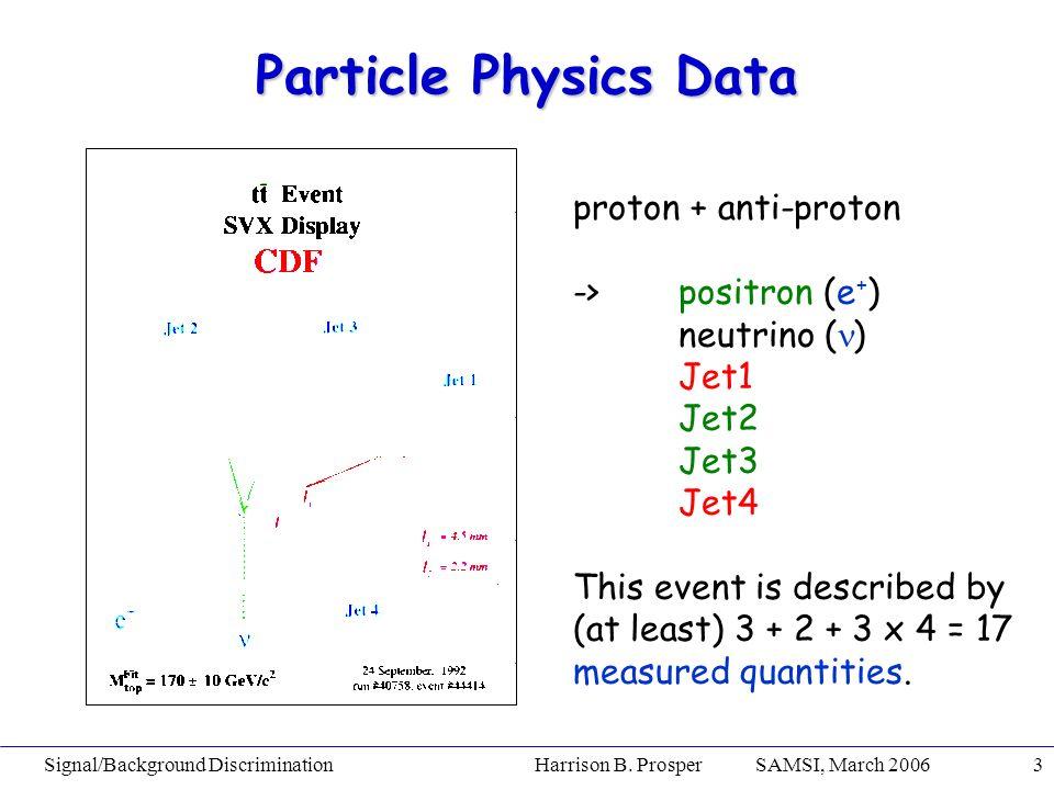 Signal/Background Discrimination Harrison B. Prosper SAMSI, March 20063 Particle Physics Data proton + anti-proton ->positron (e + ) neutrino ( ) Jet1