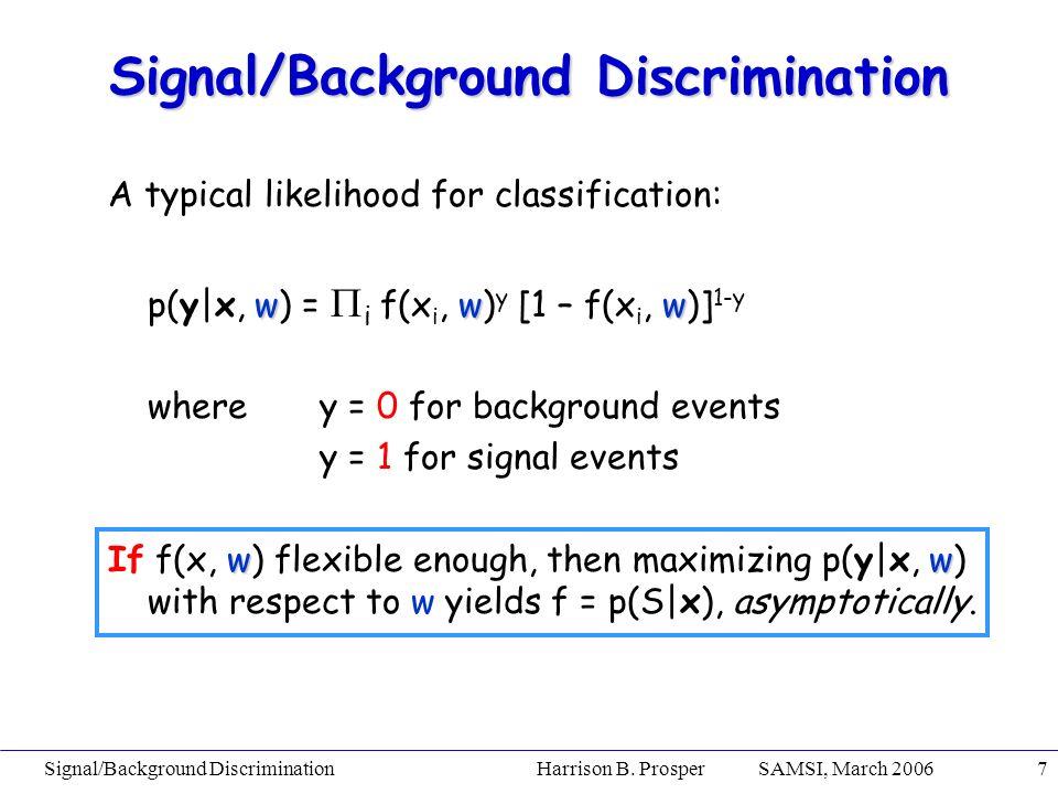 Signal/Background Discrimination Harrison B. Prosper SAMSI, March 20067 A typical likelihood for classification: www p(y|x, w) = i f(x i, w) y [1 – f(