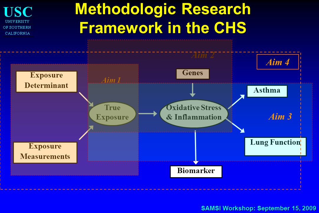 SAMSI Workshop: September 15, 2009 Methodologic Research Framework in the CHS Exposure Determinant True Exposure Measurements Genes Asthma Lung Functi
