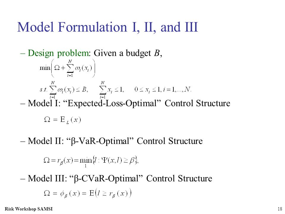 Risk Workshop SAMSI18 Model Formulation I, II, and III –Design problem: Given a budget B, –Model I: Expected-Loss-Optimal Control Structure –Model II: