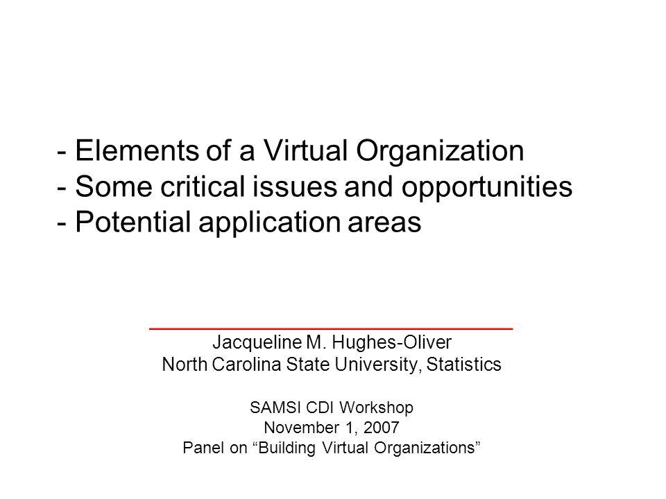 _________________________ Jacqueline M. Hughes-Oliver North Carolina State University, Statistics SAMSI CDI Workshop November 1, 2007 Panel on Buildin