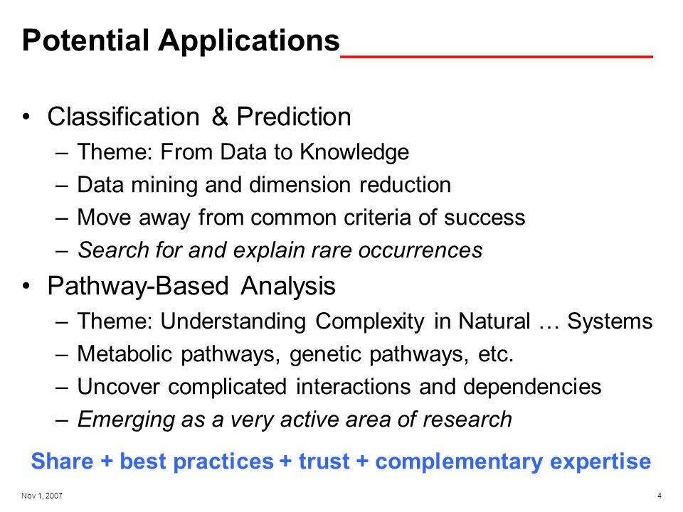 Nov 1, Potential Applications _______________ Classification & Prediction –Theme: From Data to Knowledge –Data mining and dimension reduction –Move away from common criteria of success –Search for and explain rare occurrences Pathway-Based Analysis –Theme: Understanding Complexity in Natural … Systems –Metabolic pathways, genetic pathways, etc.