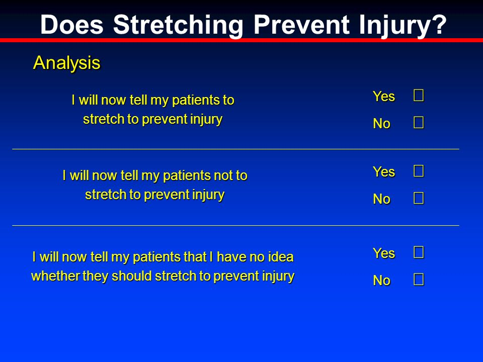 AnalysisAnalysis Yes Yes No No I will now tell my patients to stretch to prevent injury Yes Yes No No I will now tell my patients not to stretch to prevent injury Yes Yes No No I will now tell my patients that I have no idea whether they should stretch to prevent injury Does Stretching Prevent Injury