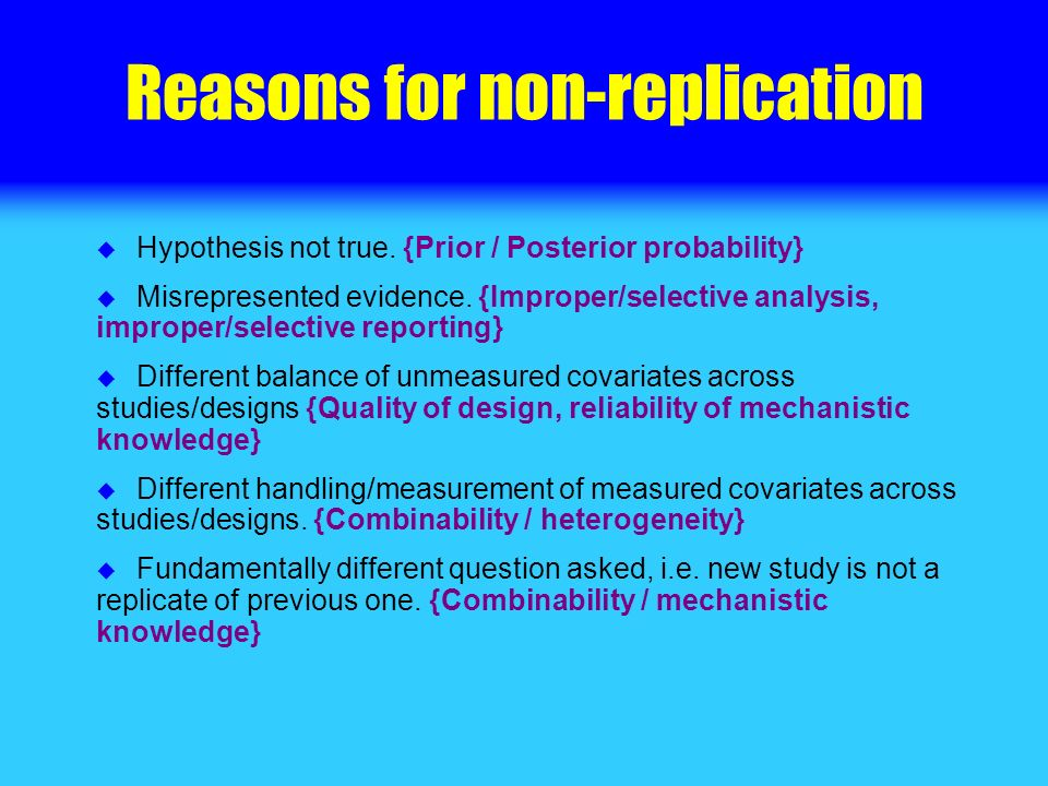 Reasons for non-replication Hypothesis not true. {Prior / Posterior probability} Misrepresented evidence. {Improper/selective analysis, improper/selec