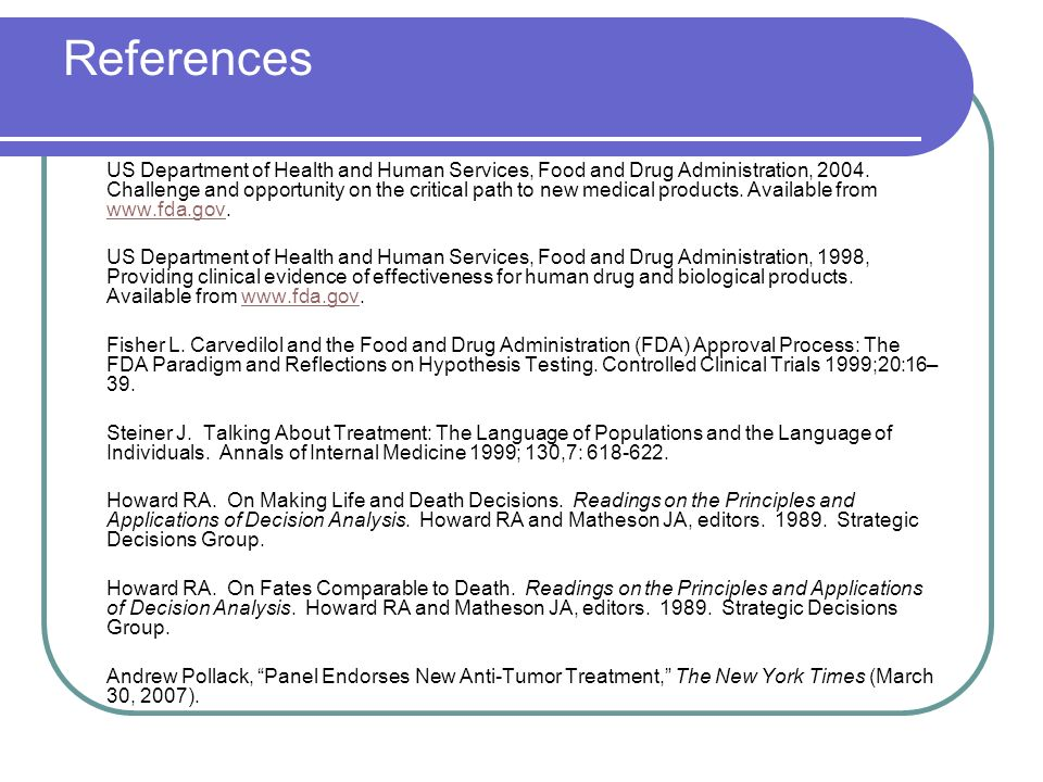References US Department of Health and Human Services, Food and Drug Administration, 2004.