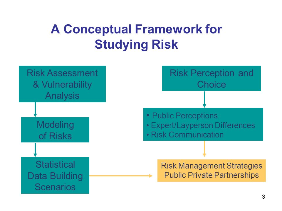 A Conceptual Framework for Studying Risk Statistical Data Building Scenarios Risk Perception and Choice Public Perceptions Expert/Layperson Differences Risk Communication Risk Assessment & Vulnerability Analysis Modeling of Risks Risk Management Strategies Public Private Partnerships 3