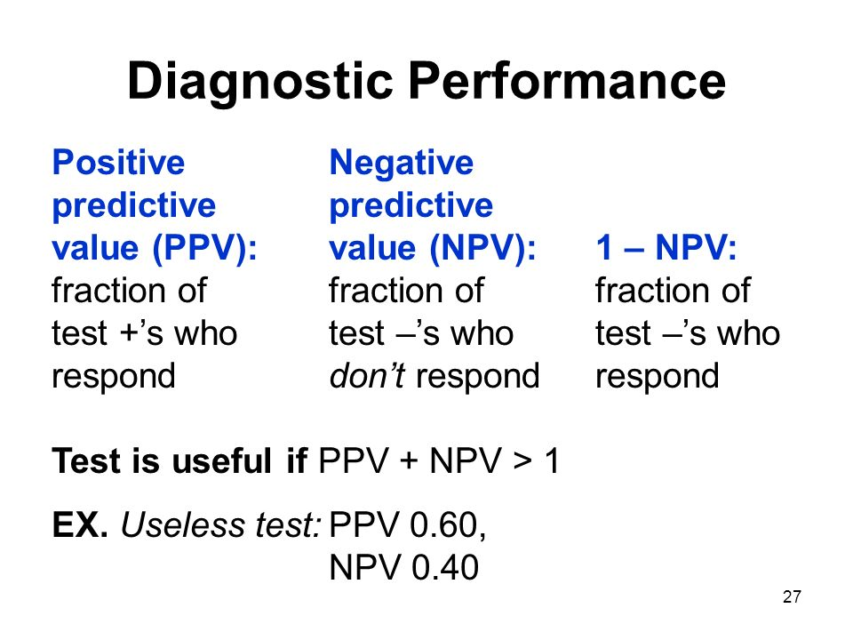 27 Diagnostic Performance PositiveNegative predictivepredictive value (PPV):value (NPV): 1 – NPV: fraction offraction offraction of test +s whotest –s