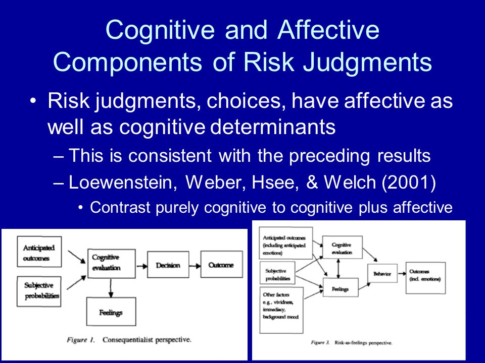 Cognitive and Affective Components of Risk Judgments Risk judgments, choices, have affective as well as cognitive determinants –This is consistent with the preceding results –Loewenstein, Weber, Hsee, & Welch (2001) Contrast purely cognitive to cognitive plus affective
