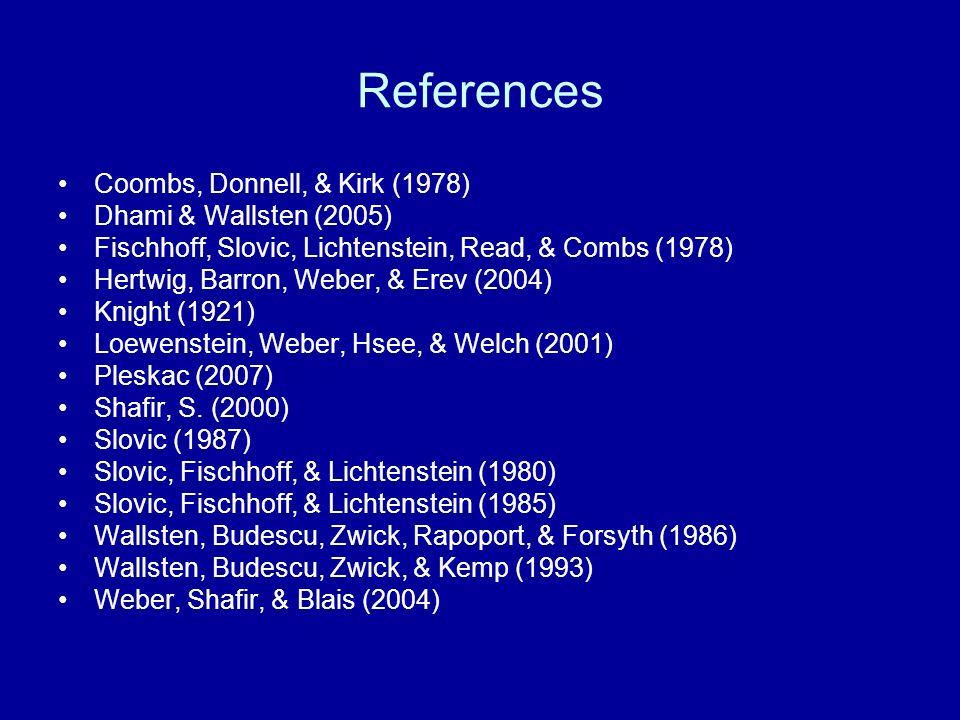 References Coombs, Donnell, & Kirk (1978) Dhami & Wallsten (2005) Fischhoff, Slovic, Lichtenstein, Read, & Combs (1978) Hertwig, Barron, Weber, & Erev