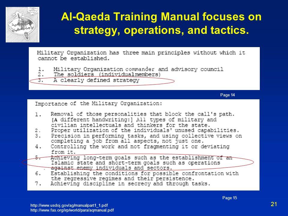21 Al-Qaeda Training Manual focuses on strategy, operations, and tactics. http://www.usdoj.gov/ag/manualpart1_1.pdf http://www.fas.org/irp/world/para/