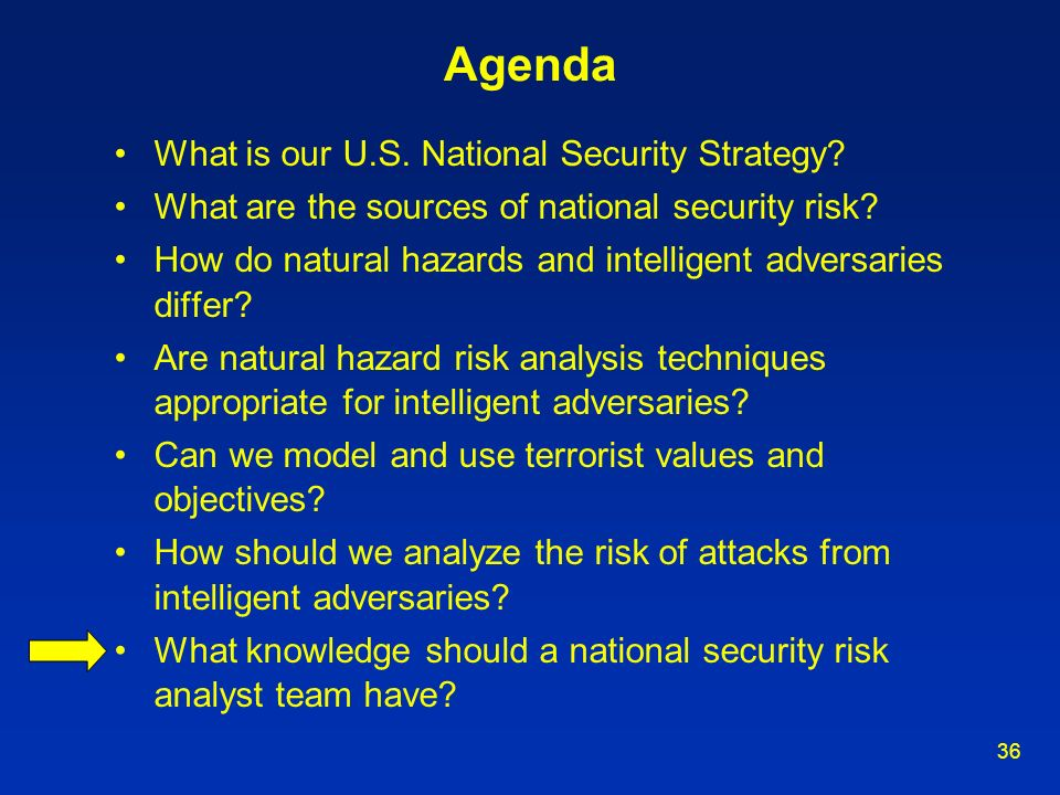 36 Agenda What is our U.S. National Security Strategy? What are the sources of national security risk? How do natural hazards and intelligent adversar