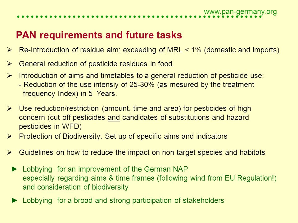 ..................................................... www.pan-germany.org PAN requirements and future tasks Protection of Biodiversity: Set up of spec