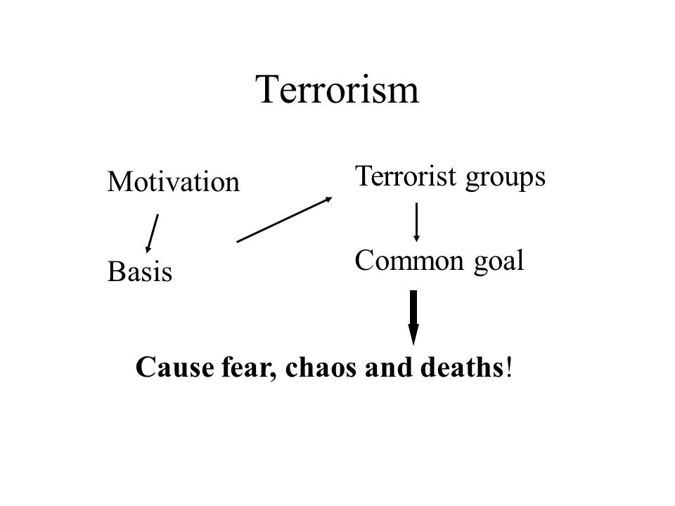 Terrorism Motivation Terrorist groups Basis Common goal Cause fear, chaos and deaths!