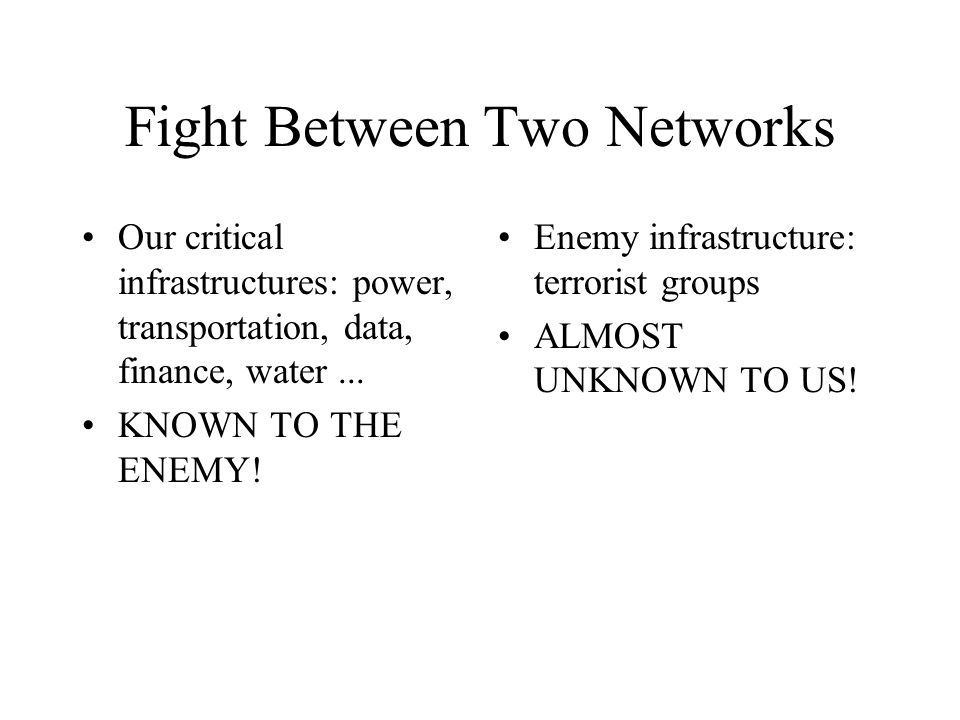 Fight Between Two Networks Our critical infrastructures: power, transportation, data, finance, water...
