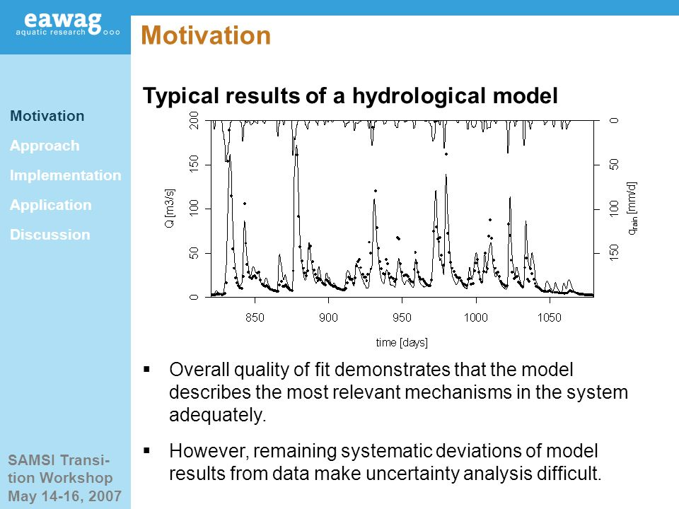 SAMSI Transi- tion Workshop May 14-16, 2007 Motivation Typical results of a hydrological model Motivation Approach Implementation Application Discussion Overall quality of fit demonstrates that the model describes the most relevant mechanisms in the system adequately.