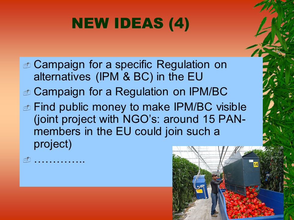 NEW IDEAS (4) Campaign for a specific Regulation on alternatives (IPM & BC) in the EU Campaign for a Regulation on IPM/BC Find public money to make IP