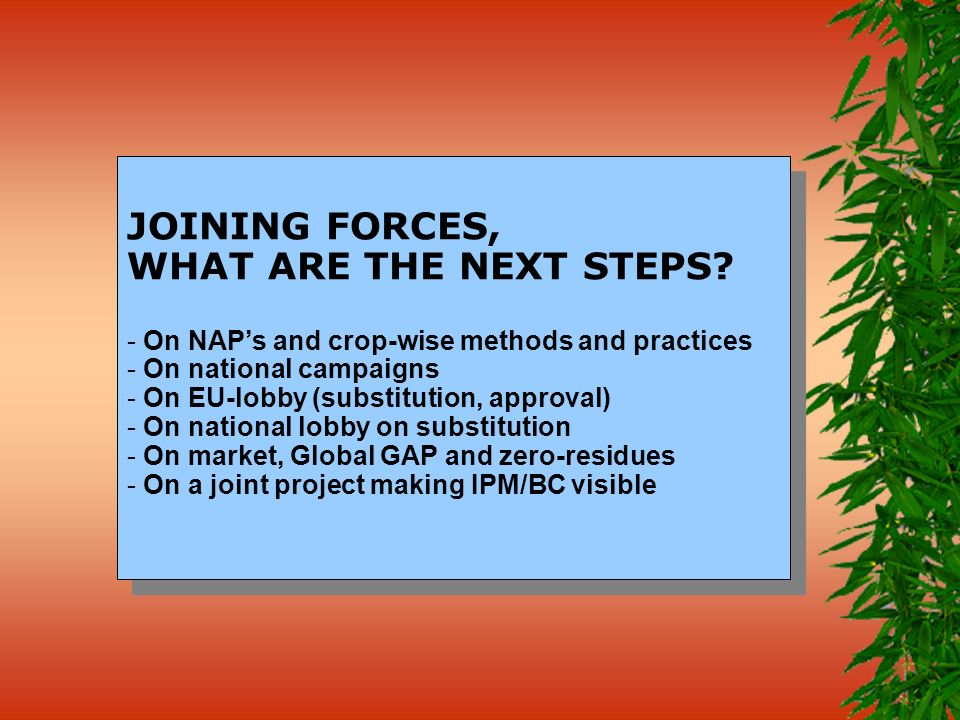 JOINING FORCES, WHAT ARE THE NEXT STEPS? - On NAPs and crop-wise methods and practices - On national campaigns - On EU-lobby (substitution, approval)