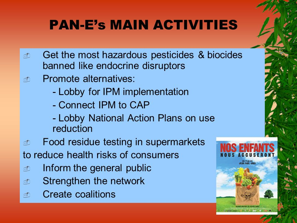 PAN-Es MAIN ACTIVITIES Get the most hazardous pesticides & biocides banned like endocrine disruptors Promote alternatives: - Lobby for IPM implementat