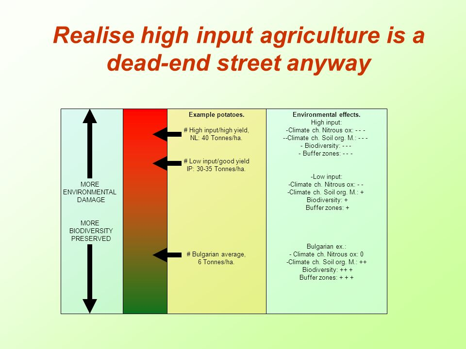 Realise high input agriculture is a dead-end street anyway MORE ENVIRONMENTAL DAMAGE MORE BIODIVERSITY PRESERVED Example potatoes.