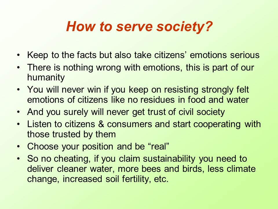 How to serve society.