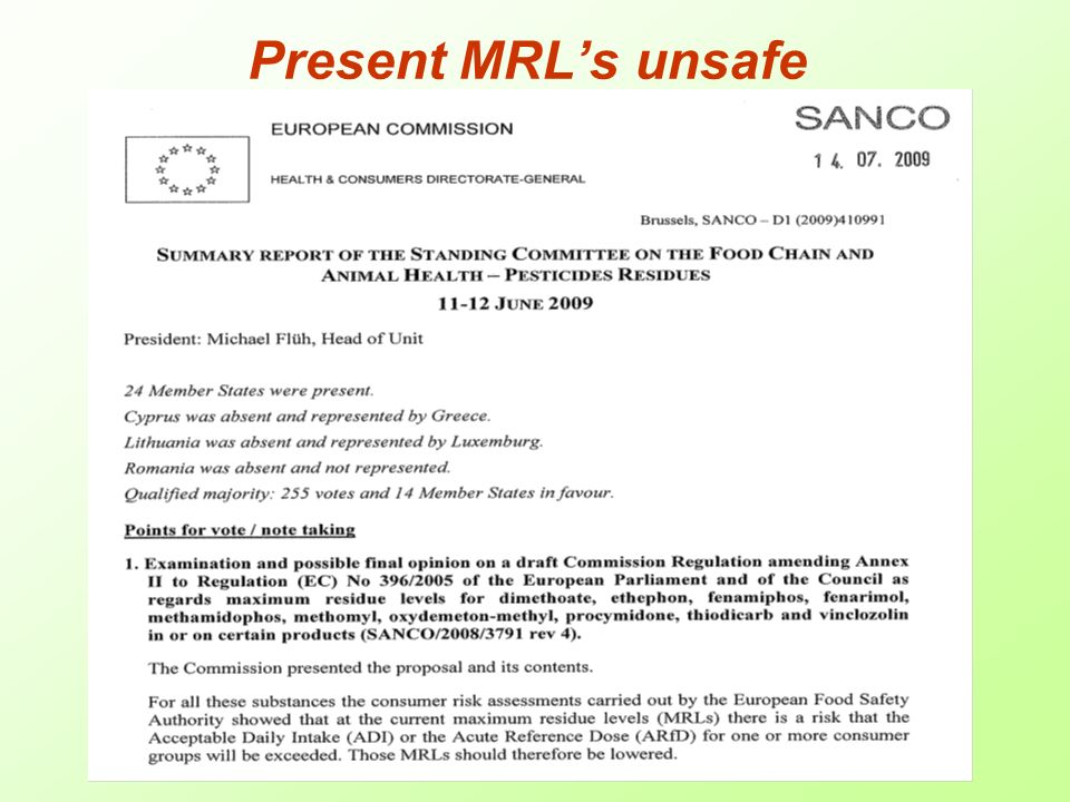 Present MRLs unsafe
