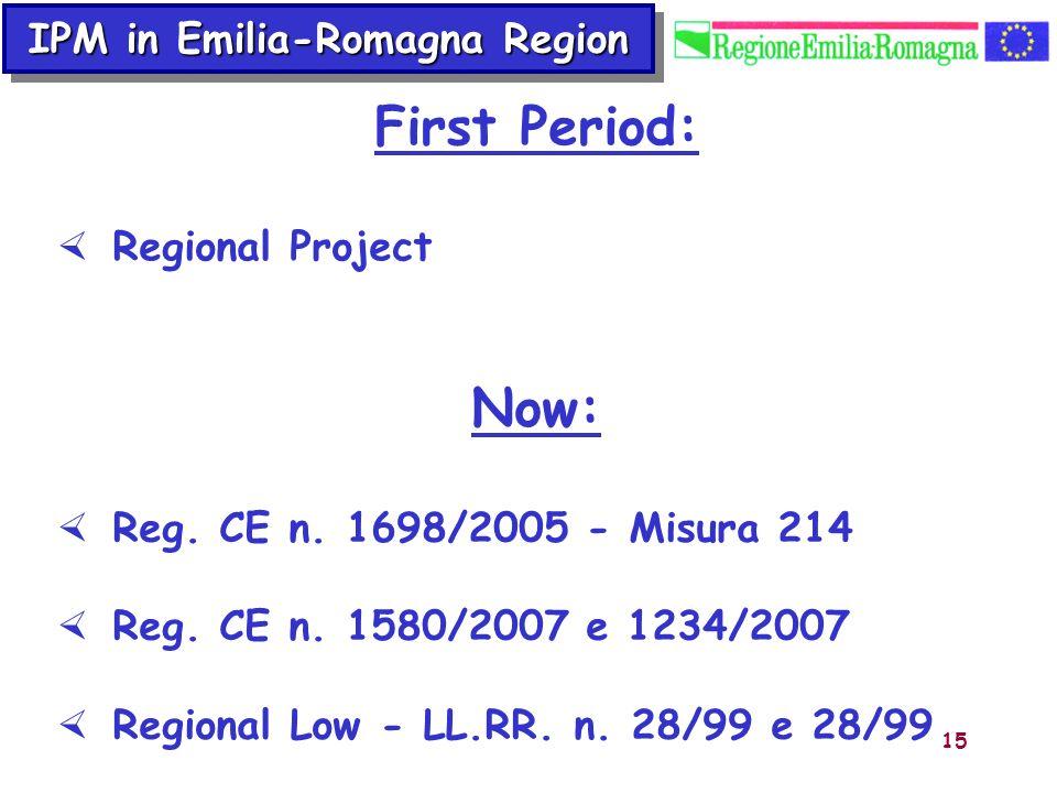 15 IPM in Emilia-Romagna Region Now: Reg. CE n. 1698/2005 - Misura 214 Reg. CE n. 1580/2007 e 1234/2007 Regional Low - LL.RR. n. 28/99 e 28/99 First P