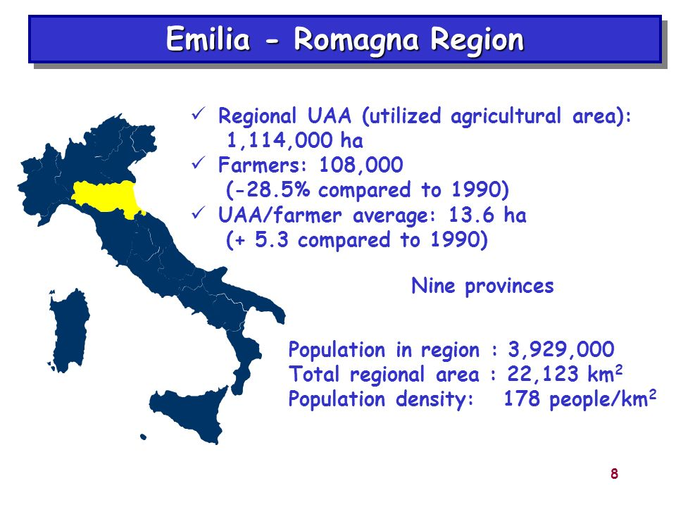 8 Population in region : 3,929,000 Total regional area : 22,123 km 2 Population density: 178 people/km 2 Emilia - Romagna Region Nine provinces Region