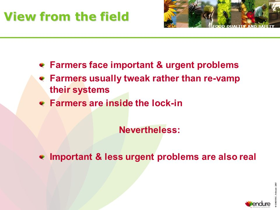 © ENDURE, February 2007 FOOD QUALITY AND SAFETY View from the field Farmers face important & urgent problems Farmers usually tweak rather than re-vamp