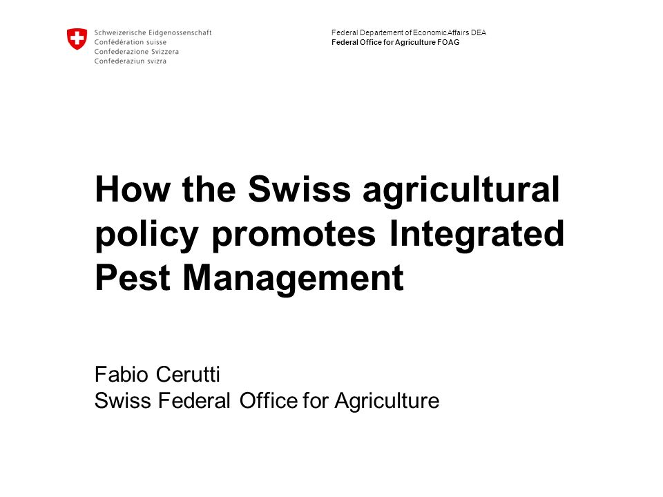 2 Agri-environmental policy in Switzerland / 2007-08-17/201 Integrated Plant Production is the basis for Integrated Plant Management