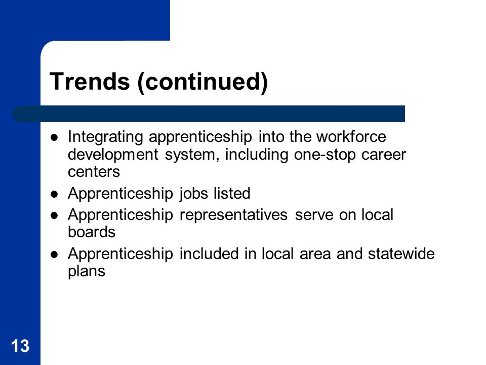 13 Trends (continued) Integrating apprenticeship into the workforce development system, including one-stop career centers Apprenticeship jobs listed A