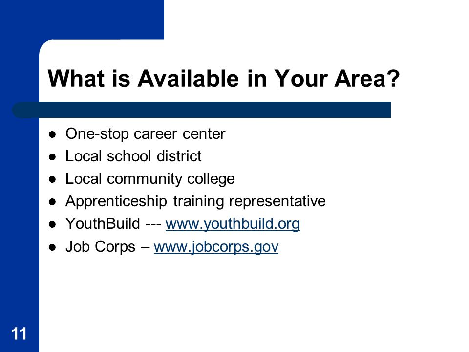 11 What is Available in Your Area? One-stop career center Local school district Local community college Apprenticeship training representative YouthBu