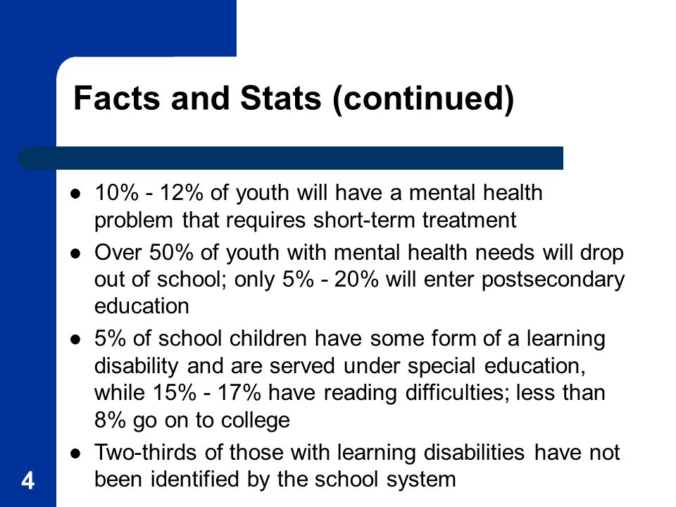 4 Facts and Stats (continued) 10% - 12% of youth will have a mental health problem that requires short-term treatment Over 50% of youth with mental health needs will drop out of school; only 5% - 20% will enter postsecondary education 5% of school children have some form of a learning disability and are served under special education, while 15% - 17% have reading difficulties; less than 8% go on to college Two-thirds of those with learning disabilities have not been identified by the school system