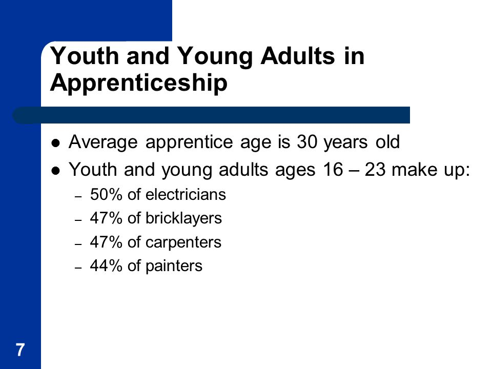 Youth and Young Adults in Apprenticeship Average apprentice age is 30 years old Youth and young adults ages 16 – 23 make up: – 50% of electricians – 47% of bricklayers – 47% of carpenters – 44% of painters 7